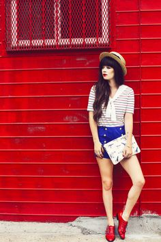 Striped Sailor Shirt, Blue Shorts, Red Shoes, & a Bird Print Clutch