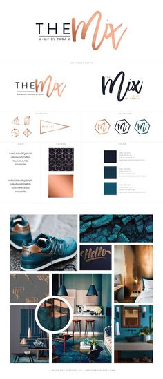 Copper and Teal Brand Board / Mood Board designed by @WhiteOakCreativ:
