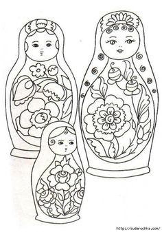 """""""Matryoshka"""" - coloring with stencils .. Discussion on LiveInternet - Russian Service Online Diaries"""
