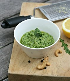 Rocket and Cashew Vegan Pesto Yummy Recipes, Whole Food Recipes, Cooking Recipes, Yummy Food, Healthy Recipes, Dairy Free Pesto, Vegan Pesto, Eating Clean, Healthy Eating