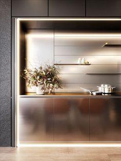 Luxury Kitchen Design, Kitchen Room Design, Kitchen Dinning, Kitchen Sets, Interior Design Kitchen, Kitchen Decor, Cocinas Kitchen, Interior Design Boards, Cuisines Design