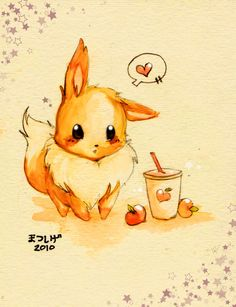 Eevee Drinks a Smoothie