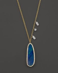"""Meira T 14K Yellow Gold Oval Blue Opal Necklace with Diamonds, 16"""" 