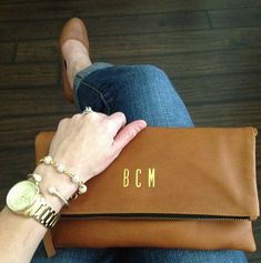 Tan Monogrammed foldover clutch; Tan personalized foldover clutch, Bridesmaid…