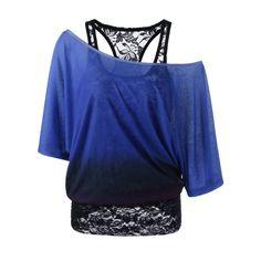 Cold Shoulder Lace Ombre Top - Blue M Mobile