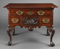 THE MITHOFF FAMILY CHIPPENDALE LOWBOY -  Attributed to the Shop of Henry Clifton & Thomas Carteret,  Philadelphia, Circa 1755. Primary Wood: Mahogany,  Secondary Wood: Tulip, Pine. Height: 29 1/2 inches, Width: 36 1/4 inches, Depth: 21 1/2 inches. Provenance: Mithoff Family, Pennsylvania and Ohio; M. Henck, Cincinnati, Ohio; Eleanor Mithoff Bishop, Princeton, New Jersey: Bernard & S. Dean Levy, Inc., New York; Private Florida Collection.
