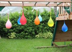 Outdoor water/balloon fun. Play it blindfolded with kids like a piñata