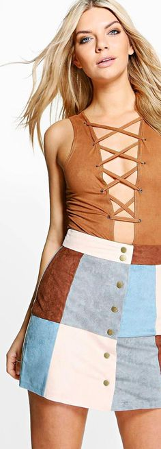 Avah Patchwork Suedette A Line Mini Skirt - Skirts  - Street Style, Fashion Looks And Outfit Ideas For Spring And Summer 2017