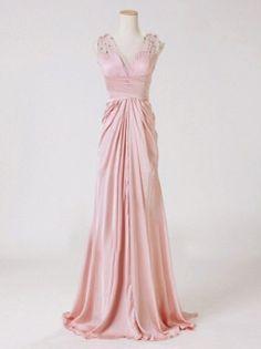 discount beautiful pink v-neck sleeveless long chiffon beach wedding dress | Cheap beach wedding dresses Sale