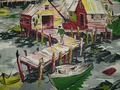 Vintage Barkcloth Harbor, Boating