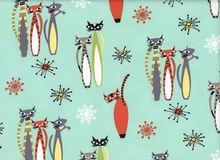 Retro Atomic Tabby Cat Fabric Sea foam