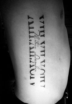 Mens Rib Cage Side Roman Numeral With Negative Space Design Rib Tattoos For Guys, Side Tattoos, Couple Tattoos, New Tattoos, Body Art Tattoos, Sleeve Tattoos, Rib Cage Tattoos, Tatoos, Forearm Tattoos