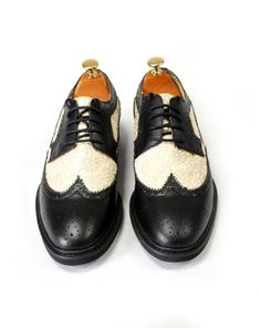 Free shipping-Black and white lace cow leather oxford shoes-
