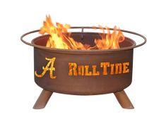 Outdoor University of Alabama Crimson Tide Roll Tide Fire Pit - NCAA Collegiate team logos on wood burning Firepit - Patina - F410