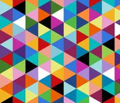 Colorful Geometric Triangle Cheater Quilt Pattern fabric by paintgoo on Spoonflower - custom fabric