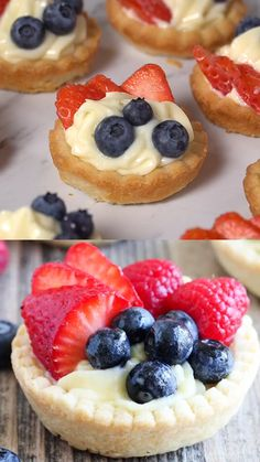 Fresh Fruit Tarts - - Fresh Fruit Tarts PINS I LOVE Each bite of this fresh fruit tart is a mix of crumbly sweet crust, smooth and decadent custard and juicy fresh berries! This fruit tart recipe is the perfect refreshing treat for warmer weather! Mini Dessert Recipes, Fruit Recipes, Easy Desserts, Baking Recipes, Sweet Recipes, Cookie Recipes, Whole Foods Fruit Tart Recipe, Cookie Desserts, Easy Fruit Tart Recipe