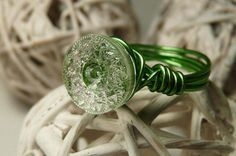 Sheer Elegance Wire Wrapped Vintage Glass Button by ksyardbird, $11.00