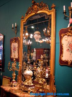 antique, gold, gilded, mantel, mirror