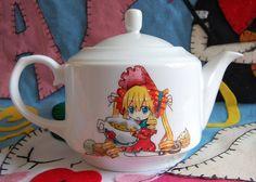 Handpainted Rozen Maiden ceramic teapot by Akindoonline on Etsy