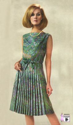 1966 floral graphic print day dress sleeveless blue green pleated skirt bow belt hairstyle mid 60s classic elegant secretary summer model magazine vintage fashion style
