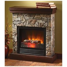 """CASTLECREEK™ Electric """"Stone"""" Fireplace Heater fits anywhere."""