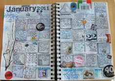 Scrapbook calendar journaling in a smash book Journal Inspiration, Journal Ideas, Arte Sketchbook, Journal Pages, Calendar Journal, Daily Journal, Work Journal, Summer Journal, Art Calendar