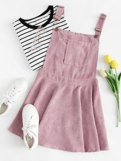 Pocket Front Zip Up Back Corduroy Pinafore Dress -SheIn(Shei.- Pocket Front Zip Up Back Corduroy Pinafore Dress -SheIn(Sheinside) Pocket Front Zip Up Back Corduroy Pinafore Dress -SheIn(Sheinside) - Fashion Mode, Teen Fashion Outfits, Look Fashion, Girl Outfits, Trendy Fashion, Fashion Ideas, Dress Outfits, Junior Fashion, Jeans Fashion