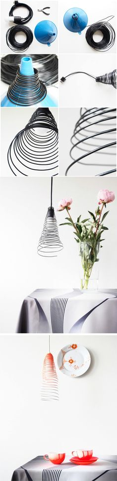 Diy lamp shade kitchen lampshades 51 ideas for 2019 Wire Crafts, Diy And Crafts, Diy Originales, Deco Luminaire, Ideias Diy, Light Project, Diy Interior, Lampshades, Wire Lampshade