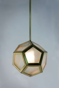 Brass Black Leather and Industrial Glass Hanging Pentagon Lantern | From a unique collection of antique and modern chandeliers and pendants  at https://www.1stdibs.com/furniture/lighting/chandeliers-pendant-lights/