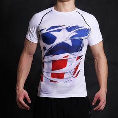 be2e427c9bf 3D Compression Shirt Fitness Men Superhero Comics Superman Quick Dry Tights  Clothing Short Sleeve T Shirt