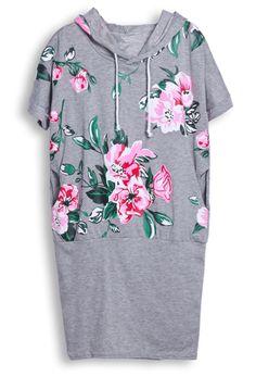 Grey Hooded Short Sleeve Floral Bodycon Dress - Sheinside.com
