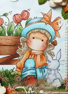 """Tulip Wheelbarrow"" and ""Tilda with Her Bunny"" Sarah Kay, Little Girl Cartoon, Magnolia Colors, Spring Books, Tampons Transparents, Scrapbooking, Color Pencil Art, Marker Art, Penny Black"