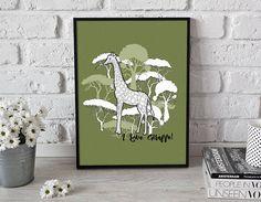 Giraffe 3  printable poster  gift for him gift for her