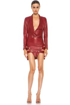 Love this: ANTHONY VACCARELLO Red Sharp Leather Jacket Dress @Lyst