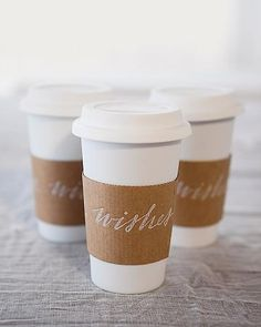 Departing guests filled porcelain travel cups with tea or coffee. Perfect for a Seattle wedding!