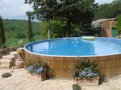 Above Ground Pool Landscaping - Placing flower boxes ...