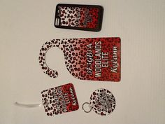 Personalized Leopard or Cheetah Print Gift Set. iPhone case, luggage tag, keychain and door hanger. Available as a set or individually. $35 http://www.fcscreations.com