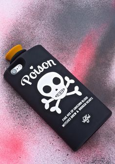 "Valfré Black Poison 3D iPhone Case will keep da evil away. Pick yer poison with this handmade sik iPhone case, featuring a silicone body in the shape of a bottle n' cork, complete with a graphic of a skull that says ""POISON"" and lists out the ingredients of yer wicked potion."