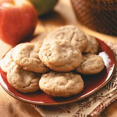 Apple Peanut Butter Cookies Recipe -These spiced peanut butter cookies are great for fall gatherings. They're crisp on the outside and soft inside. —Marjorie Benson, New Castle, Pennsylvania