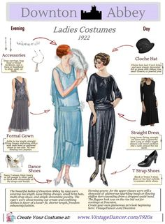1920s Downton Abbey women's fashion guide. Create your own Downton Abbey look inspired by the early 1920s. Learn and shop for dresses, shoes, jewelry and accessories. VintageDancer.com/1920s
