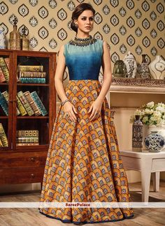 Buy Party Wear Blue and Mustard Frock Suit online (SKU Code : at Ishimaya. Latest party wear anarkali suits, designer shalwaar suits online , designer frock suits and more for birthday parties, friends & family wedding functions. Latest Anarkali Suits, Silk Anarkali Suits, Anarkali Dress, Lehenga Choli, Sarees, Gown Dress, Salwar Suits, Maxi Dresses, Floor Length Anarkali