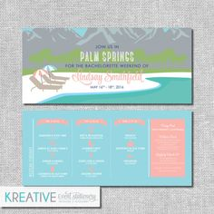 Palm Springs Resort Bachelorette Invitation with by kreativees
