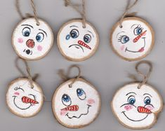 christmas tree snow christmas snow Hand painted miniature christmas tree ornaments silly snow man faces acrylic painting holiday decor by Dixonsartandcrafts on Etsy Painted Christmas Ornaments, Miniature Christmas Trees, Christmas Ornament Crafts, Diy Christmas Ornaments, Holiday Crafts, Christmas Wreaths, Christmas Decorations, Holiday Decor, Tree Decorations