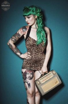 Green haired rockabilly girl✿❀