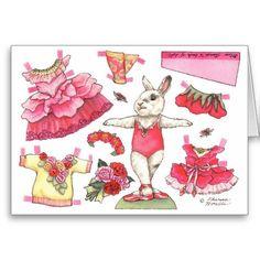 Rose Ballerina Paper Doll Birthday Card