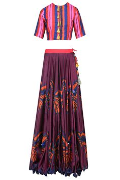 Maroon butterfly print lehenga skirt with crop top available only at Pernia's Pop Up Shop.