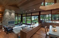"""Last fall I wrote about a beautiful lake house in New Hampshire designed by Boston-based architect Tom Murdough for his extended family. The article, """"Doing Wright,"""" appeared in the Fall 2011 issue ofBoston Home Magazine. A blog post is long overdue; summer is the perfect time for it. It's a guest house just through the … … Continue reading →"""