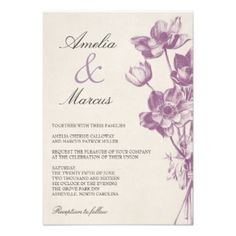 "Vintage Floral Wedding Mini Invitation / Cream & Purple Orchid 3.5 x 5 inches Other sizes available when you click the ""customize it"" button! Check out coordinating items in our shop! #vintage #floral #flowers #purple #elegant #rustic #country #plum #wedding #burlap #orchid #violet #invites #trendy #script #spring #summer #farm #barn #vintage #flowers #wedding #vintage #wedding #rustic #flowers #wedding #rustic #wedding #country #wedding #purple #wedding #rustic #purple #wedding #rustic ..."