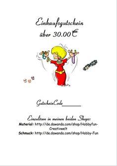 Gutschein 30,00€ von Hobby-Fun/kreative Schmuckideen auf DaWanda.com
