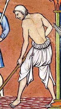 13th century peasant working in the fields without shoes  excerpt from Maciejowski Bible (Morgan Bible), Folio 18r, 13th century